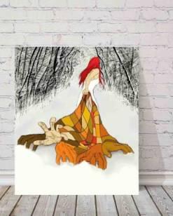 dibujo de mujer arrastrando una manta por un bosque pintado por glungu